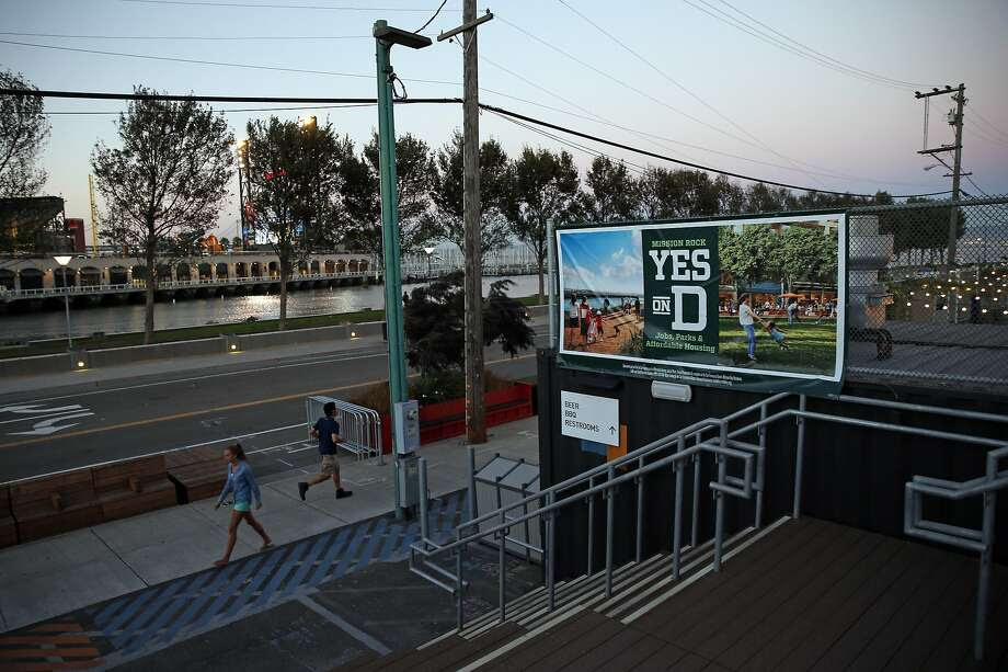 A sign supporting Proposition D at The Yard at Mission Rock at north end of Lot A near AT&T Park in San Francisco, Calif., on Monday, October 12, 2015. Photo: Scott Strazzante, The Chronicle
