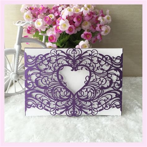 50/pcs laser cut deep purple heart shape hot wedding