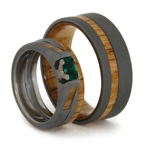 Emerald Engagement Ring With Matching Oak Wood Wedding