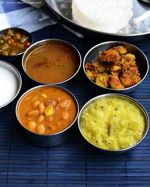 Lunch menu 28 with mochakottai kuzhambu | Raks Kitchen