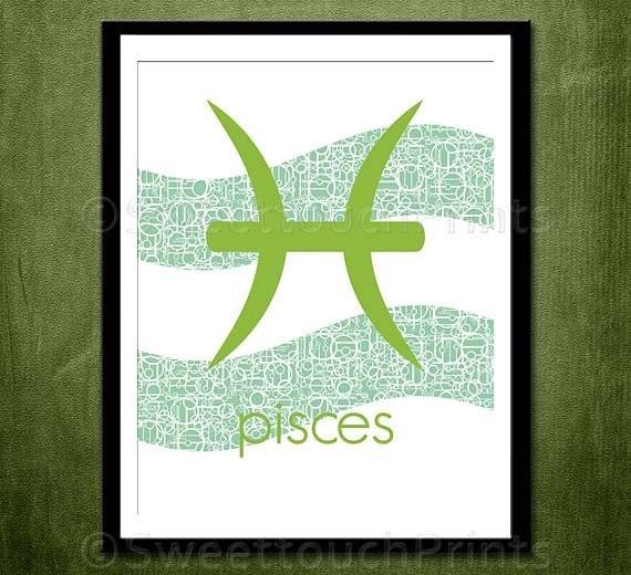Zodiac sign art print Pisces 8x10 elegant by SweettouchPrints