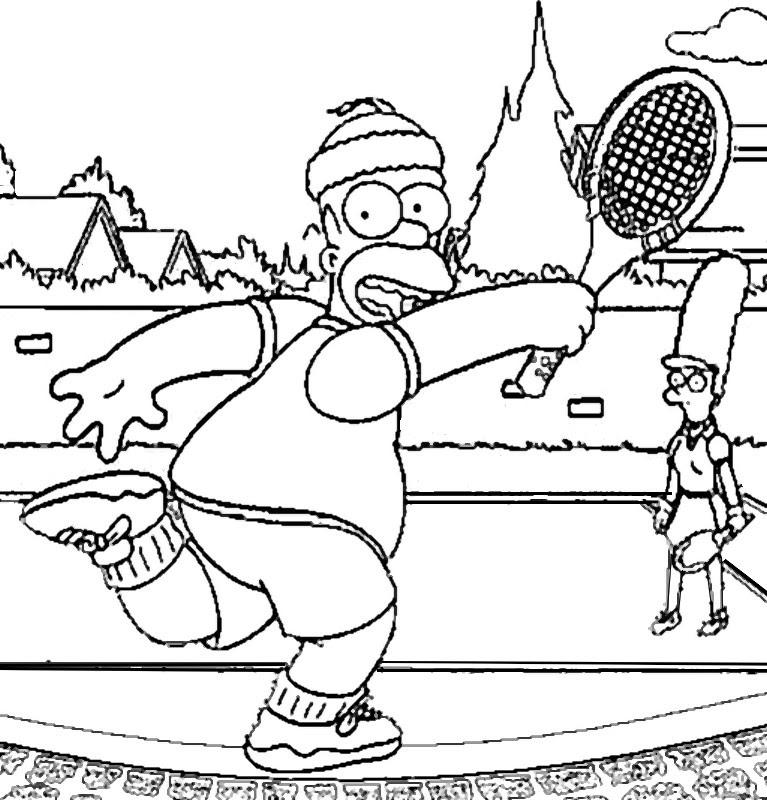 Disegno Da Colorare Tennis Tennis Bart Simpson 15