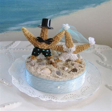 Starfish Bride and Groom on a Beach Wedding Cake Topper