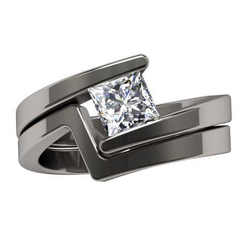 Etoile Princess Cut Titanium Ring   Jewelry   Square