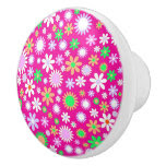 Pink Flower Power Ceramic Knob