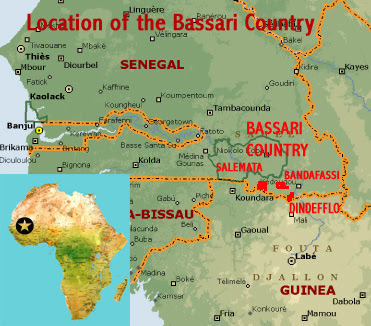 Map showing the location of Salemata, Bandafassi and Dindefflo areas of the Bassari Country UNESCO world heritage site, Senegal