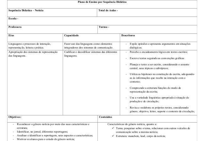 Plano de sequencia - FORMAÇÃO DO SEGUNDO CICLO NO MUNICÍPIO DE PONTES E LACERDA