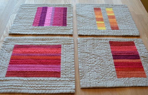 Pink, Saffron, Crimson, and Blood Orange - Red inspired mini quilts