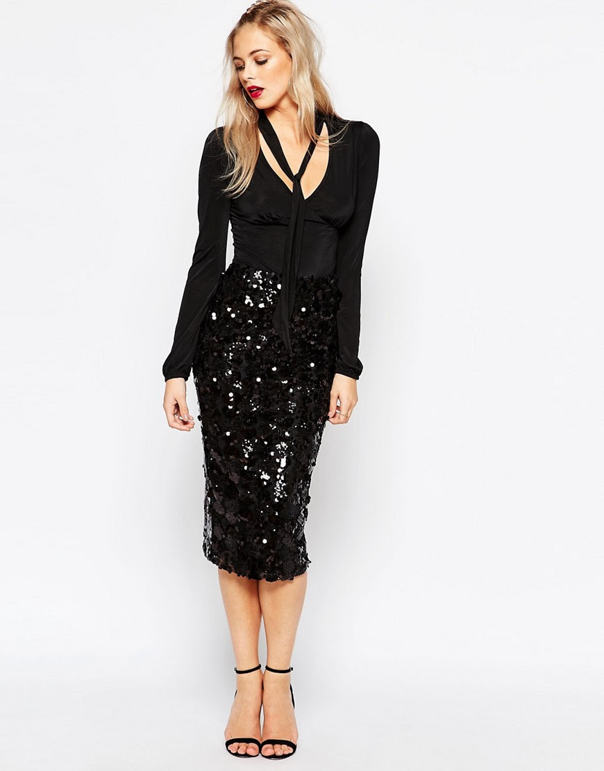 Image 1 of Boohoo Sequin Midi Skirt