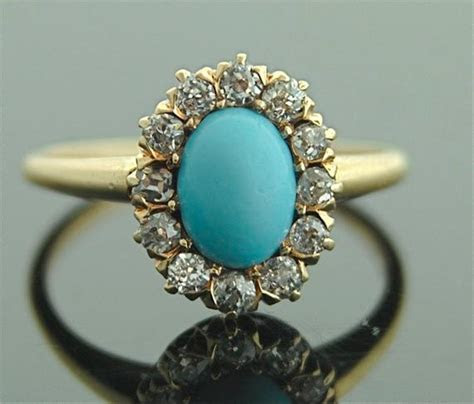 Antique Turquoise Ring 14k Yellow Gold Turquoise Diamonds