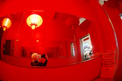 Self-portrait in a red place