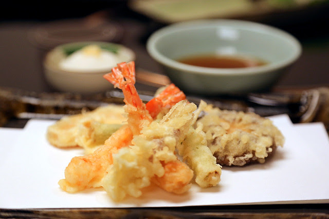 Tempura - prawns, asparagus, pumpkin, Japanese ginger and shiitake mushroom