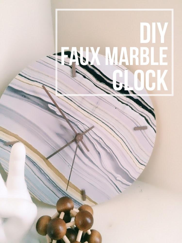 DIY Faux Marble Clock by Lemon Thistle