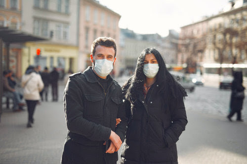 People wearing mask in public place