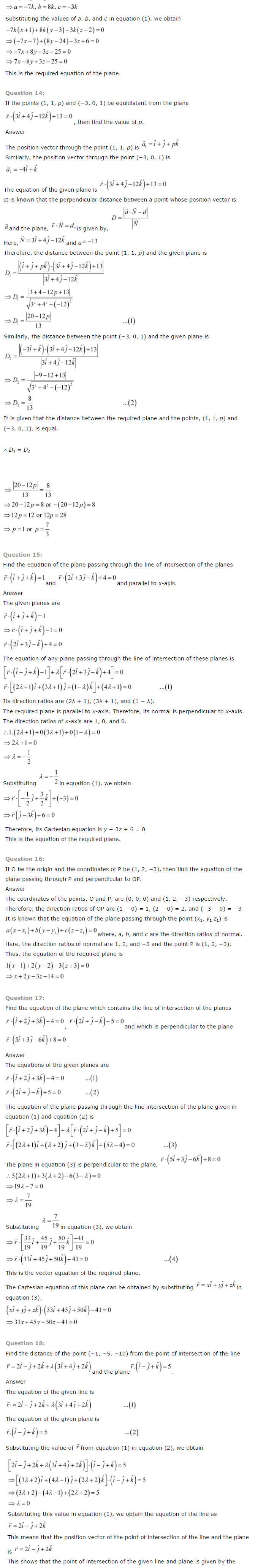 NCERT Solutions for Class 12 Maths Chapter 11 Three Dimensional Geometry ex 11.10