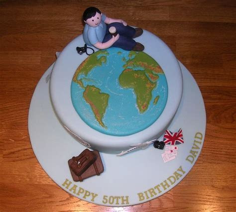 World travel themed 50th birthday cake.   adult birthday