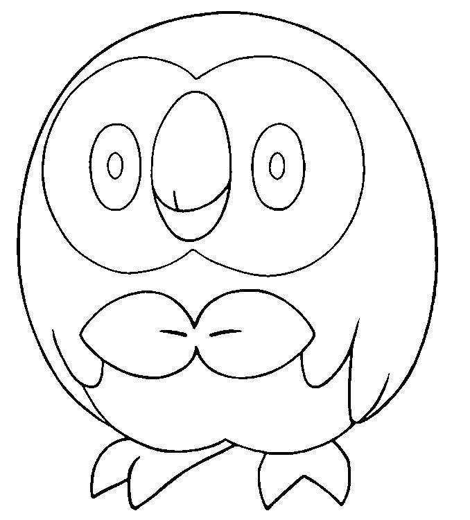 Dibujo Para Colorear Pokemon Sol Y Luna Rowlet 11