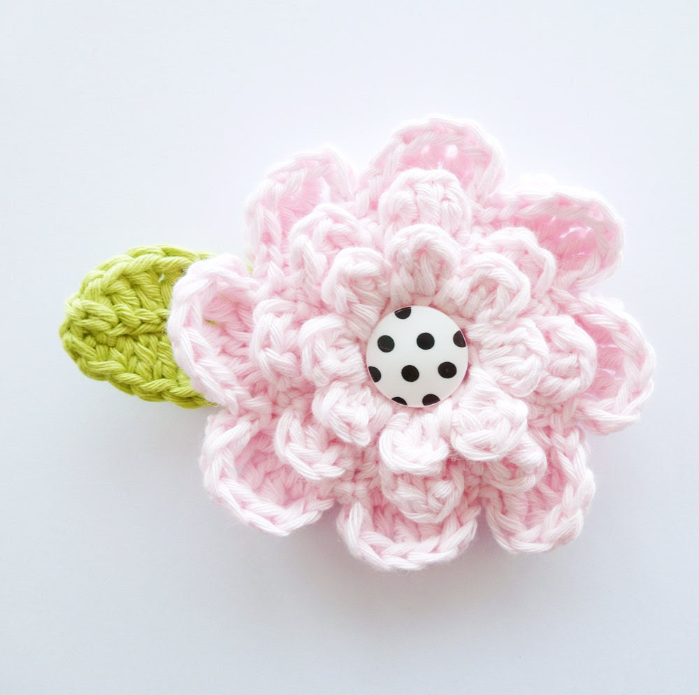 Large Button Flower Applique with Leaf
