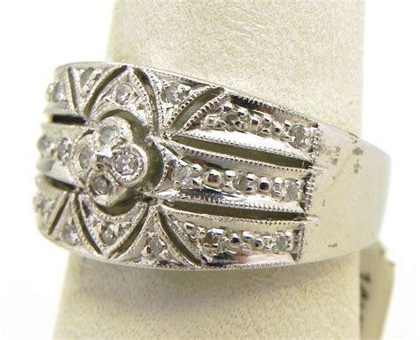 Ladies 14k White Gold & Diamond Filigree Band Ring