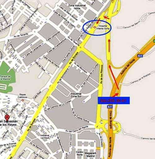 Ruta de acceso al hospital desde la salida 20 de la A1