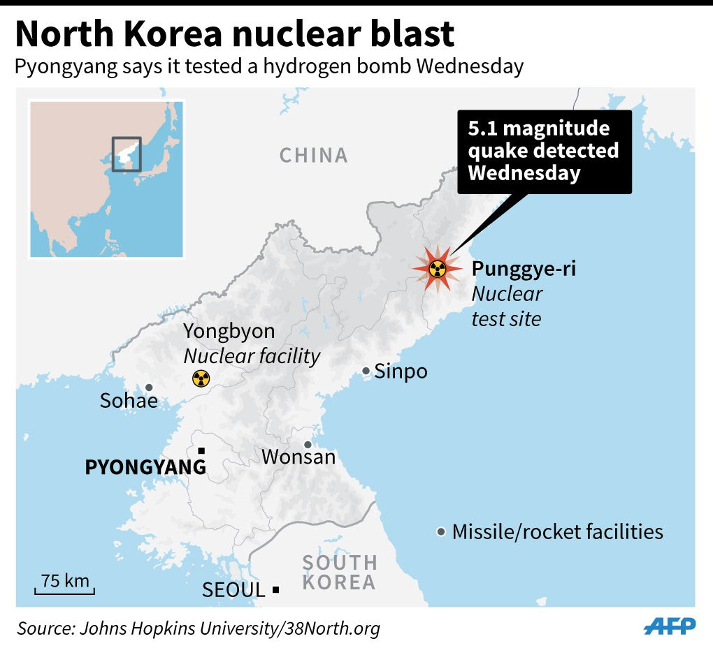 Map locating Punggye-ri nuclear site in North Korea. Pyongyang says it conducted a hydrogen test there on Wednesday. 90 x 81 mm--90 x 81 mm5.1 magnitudequake detectedWednesdayPunggye-riNucleartest siteSOUTH KOREASEOUL75 kmPYONGYANGWonsanSinpoYongbyonNuclear facilityCHINAPyongyang says it tested a hydrogen bomb WednesdayMissile/rocket facilitiesSohaeNorth Korea nuclear blastSource: Johns Hopkins University/38North.org (Newscom TagID: afpgfxlive382681) [Photo via Newscom]