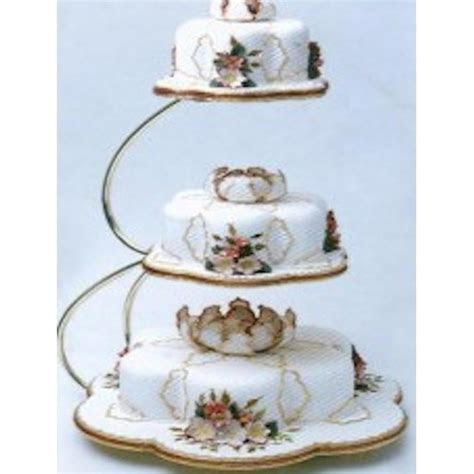 PME E shape 3 tier gold wedding cake stand   PME from Cake