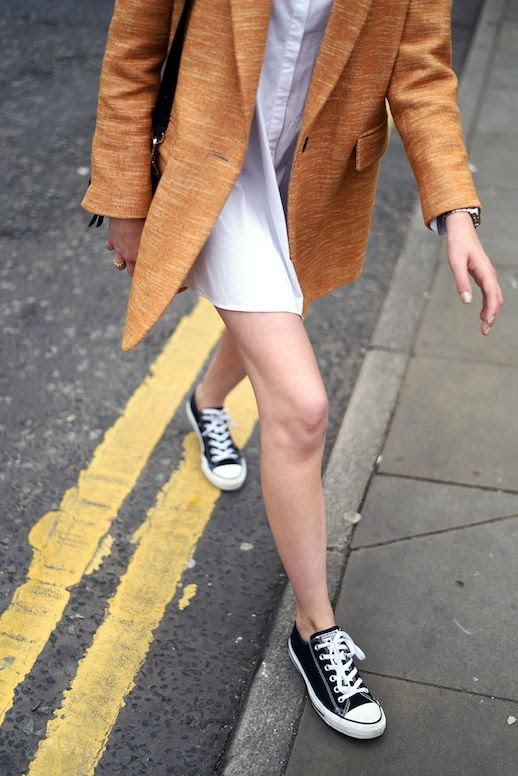 Le Fashion Blog Orange Blazer White Shirtdress Converse Sneakers Via A Shot From The Street