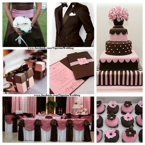 Chocolate brown and pink wedding color scheme.   Wedding
