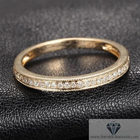 Milgrain Pave Yellow Gold Diamond Band/Ring