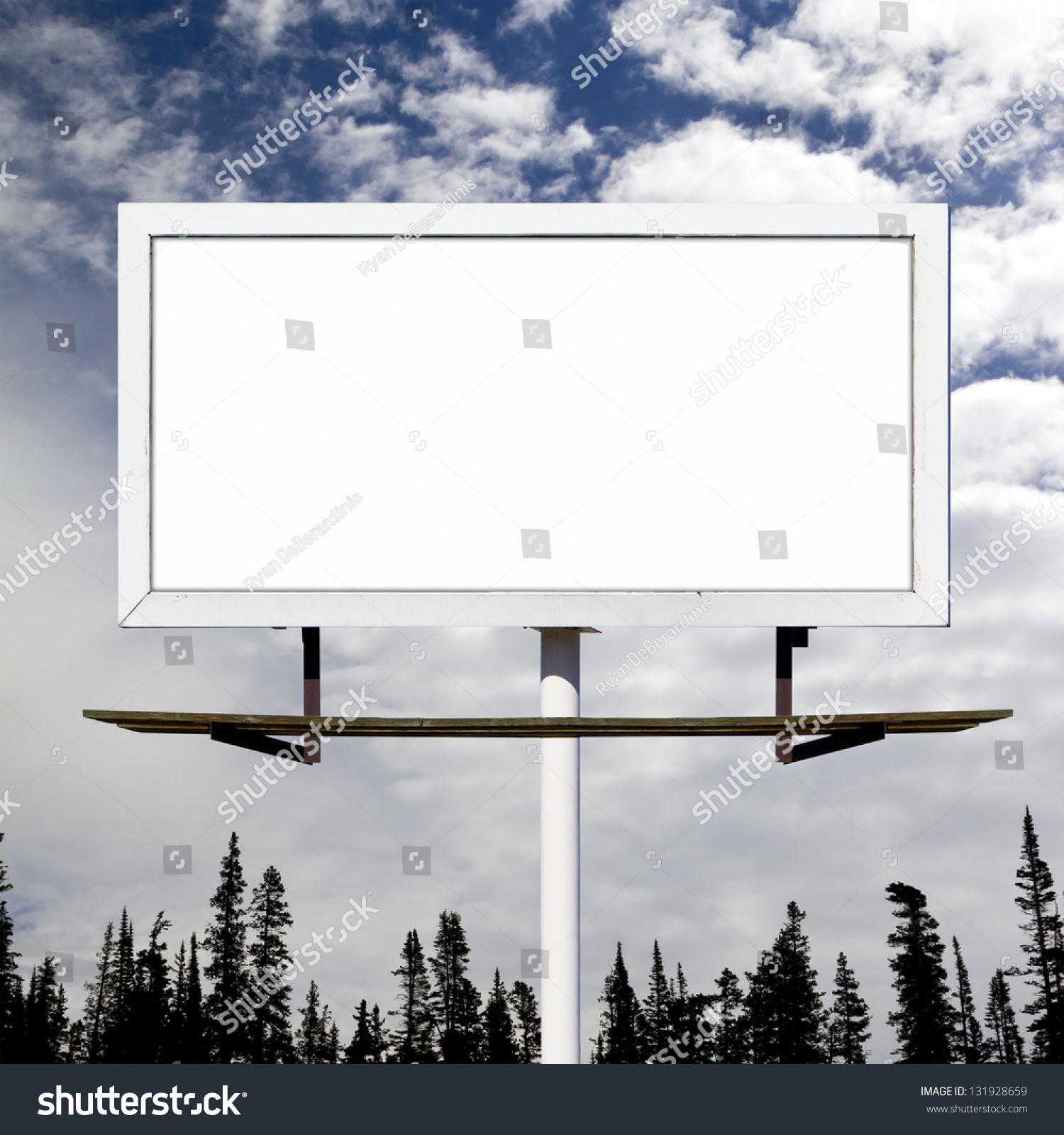 Blank Billboard Sign Against Blue Sky Stock Photo 131928659 ...