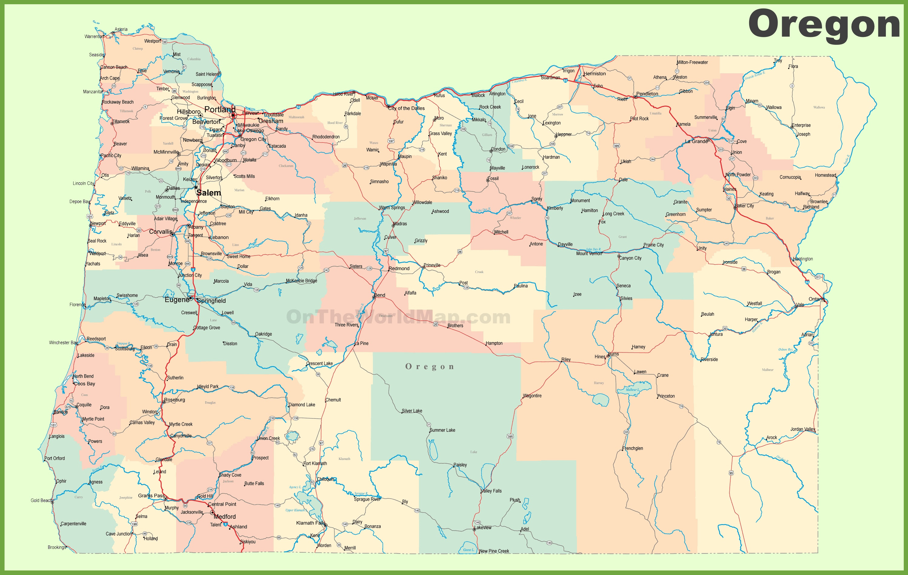 Road Map Of Oregon With Cities