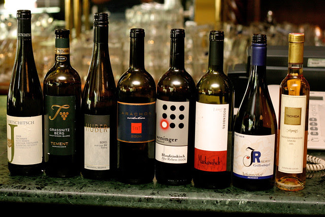 The line-up of wines they showcased