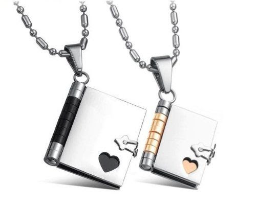 "LOVE STORY - HIS & HERS!! Stainless Steel Couples ""Love Story"" Book Pendants His & Her Necklace Set 22"" Chain (Writable Pages W/sharpie): Jewelry"
