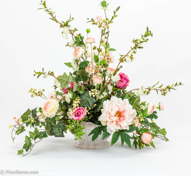 Pink rose silk floral arrangement with blossom branch  Traditional  Artificial Flower