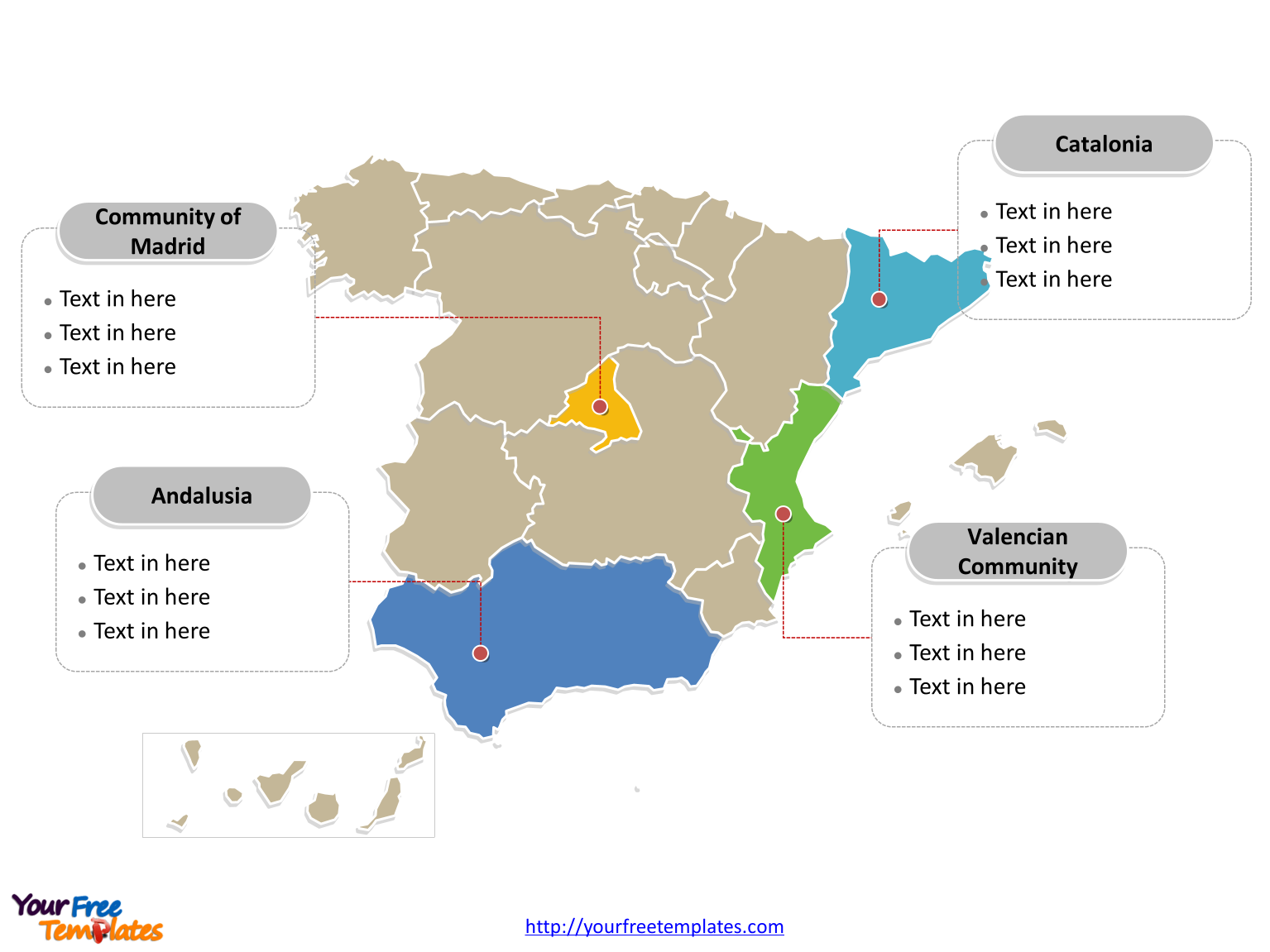 Free Spain Powerpoint Map Free Powerpoint Templates