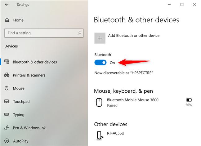 Habilitar Bluetooth en Windows 10