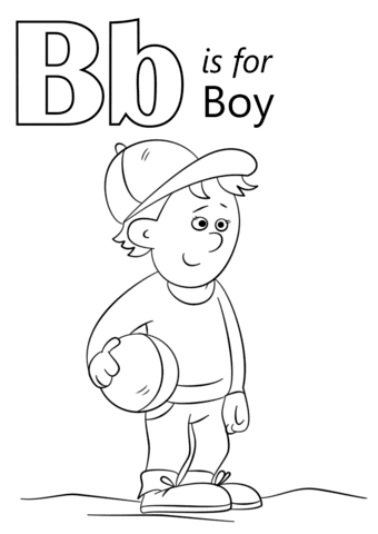 letter b is for boy coloring page  free printable