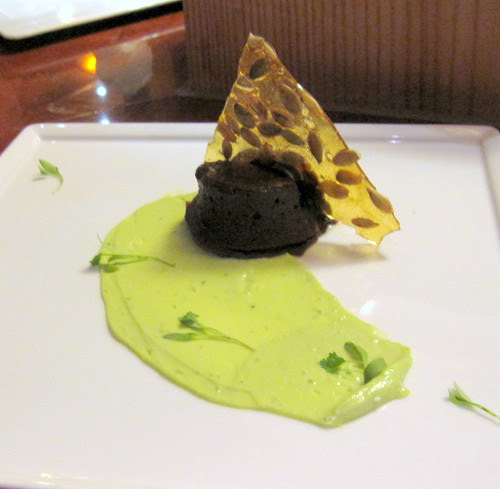 ancho chile cake with avocado mousse