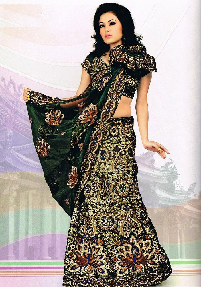 designer indian saree dress green peacock motif wedding