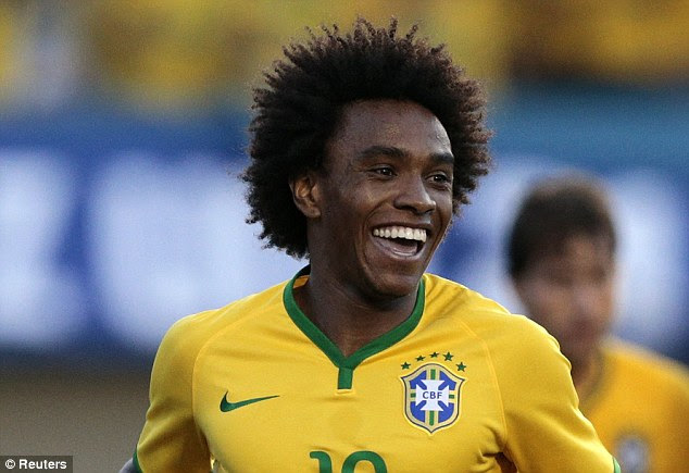 All smiles: Willian has impressed for Chelsea this season