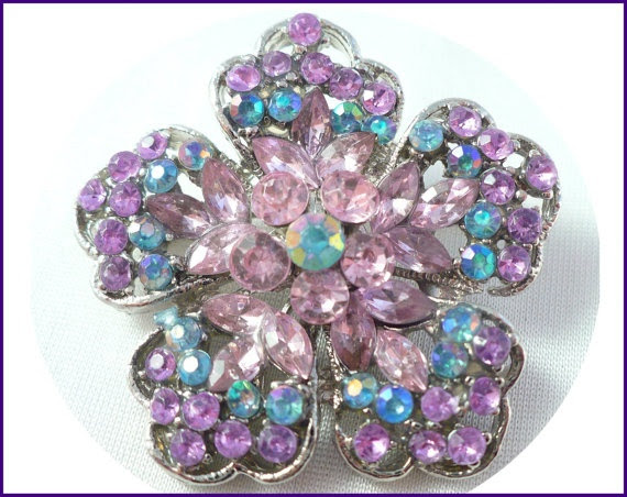 Vintage Blue AB, Lavender, & Pink Rhinestone Flower ~ SO Colorful and Sparkly!    Remember - Brooches on EVERYTHING are On-Trend!    by MarlosMarvelousFinds, $35.00
