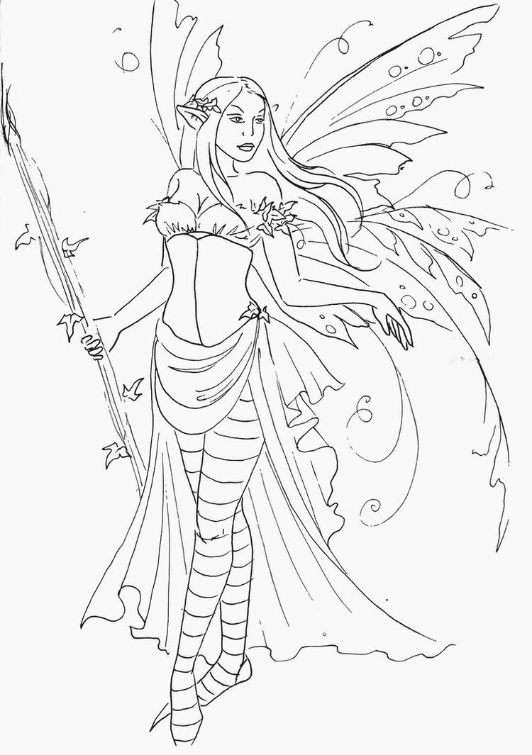 Fairy Queen Lineart by JannaFairyArt on DeviantArt