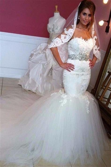 Mermaid Sweetheart Chapel Train Lace Tulle Puffy Wedding Dress