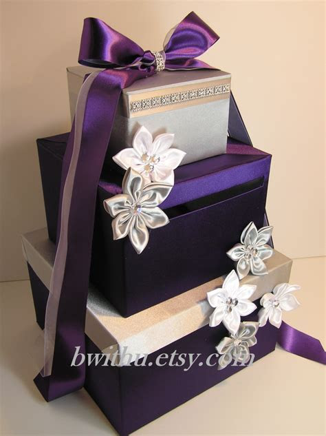 Wedding Card Box Gift Card Box Money Box Holder  Purple