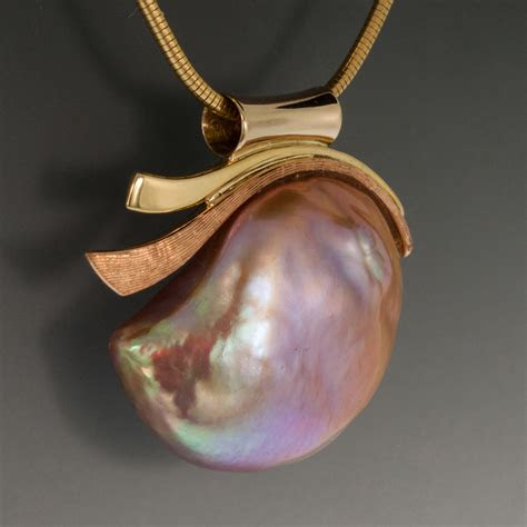 pendant large pink baroque freshwater pearl