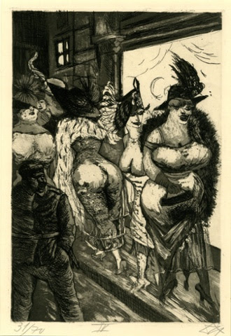 Der Krieg no.34 Front-line Soldier in Brussels  (Frontsoldat in Brüssel) A soldier lurks in darkness surrounded by voluptuous whores in expensive clothing. In this view, they are nothing more than war profiteers. In reality they lived in dire poverty.