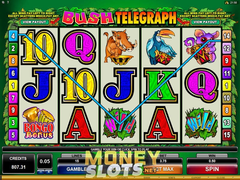 Bush Telegraph Slot Game is an intensive five-reel video slot machine, available across online casinos operating on the Microgaming platform.Winnings are given over 15 flexible pay-lines.Winnings are given over 15 flexible pay-lines.Doğanşehir