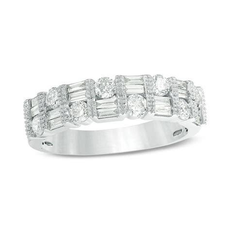3/4 CT. T.W. Baguette and Round Diamond Alternating