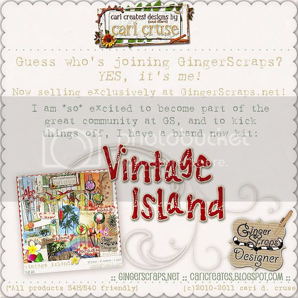 Now selling exclusively at GingerScraps.net! Kicking off with a new kit: Vintage Island