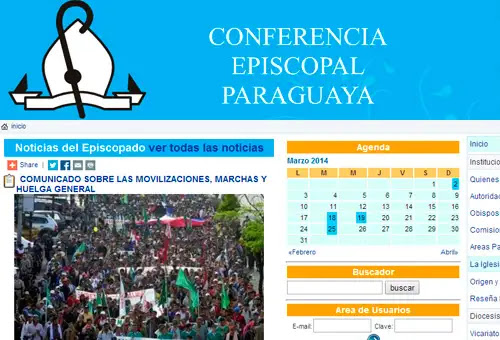 Captura de pantalla del sitio web de la Conferencia Episcopal Paraguaya